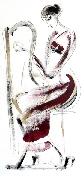 Dusan Rajsic, Harp, Mixed media, 40x20cm