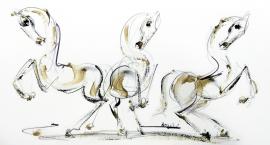 Dusan Rajsic, Horses, Mixed media, 43x23cm, £310