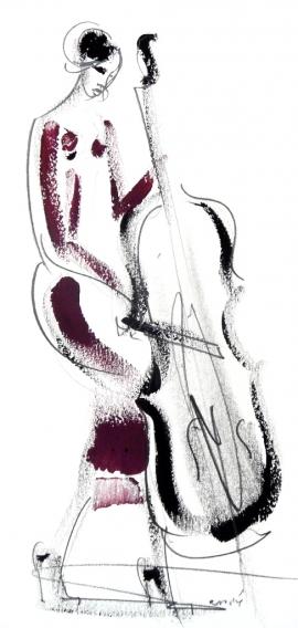 Dusan Rajsic, Musician, Mixed media, 10x25cm, £160