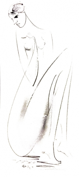 Dusan Rajsic, Nude I, Mixed Media, 25x12cm, £180