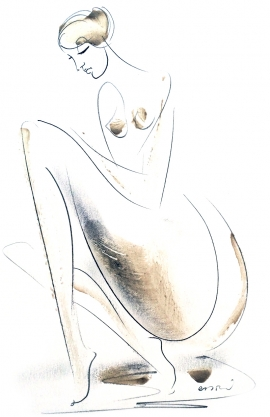 Dusan Rajsic, Nude, Mixed media, 20x15cm