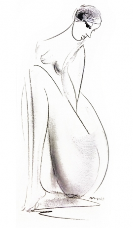 Dusan Rajsic, Nude, Mixed Media, 25x12cm, £180