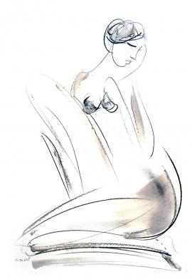 Dusan Rajsic, Nude, Mixed media, 35x25cm