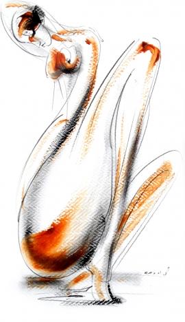 Dusan Rajsic, Nude, Mixed media, 40x25cm