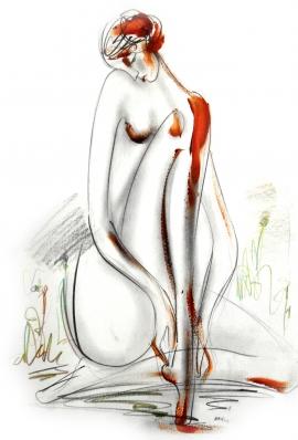 Dusan Rajsic, Nude, Mixed media, 50x35cm