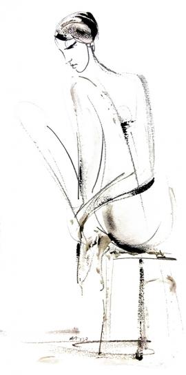 Dusan Rajsic, Sitting Nude, Mixed Media, 35x18cm, £230