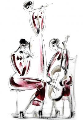 Dusan Rajsic, Trio, Mixed Media, 50x35cm, £420