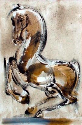 Dusan Rajsic, Horse, Oil on canvas, 30x20cm