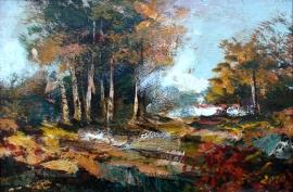 Ivan Stojanovic, Forest, Oil on canvas, 20x30cm