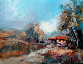 Ivan Stojanovic, Landscape, Oil on canvas, 35x45cm