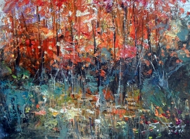 Ivan Stojanovic, Red Fields, Oil on canvas, 30x40cm