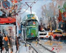Ivan Stojanovic, Tram, Oil on Canvas, 20x30cm, £210