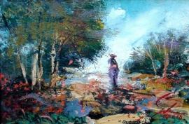Ivan Stojanovic, Walk, Oil on canvas, 20x30cm
