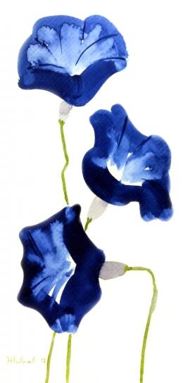 Ivana Zivic, Blue Flowers, Watercolour, 25x13cm, £180