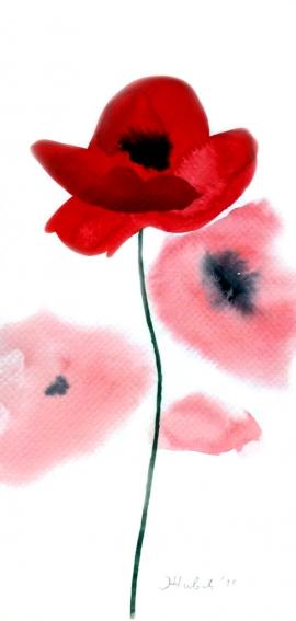 Ivana Zivic, Poppy, Watercolour, 25x13cm, £180