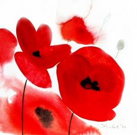 Ivana Zivic, Red Flowers, Watercolour, 17x17cm, £180