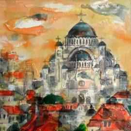Ljiljana Radosavljevic, The Cathedral of Saint Sava, Oil on board, 25x25cm, £240