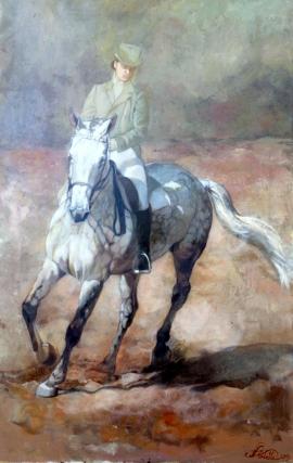 Natasa Kodela, Horse Woman, Oil on Canvas 80x40cm, £680