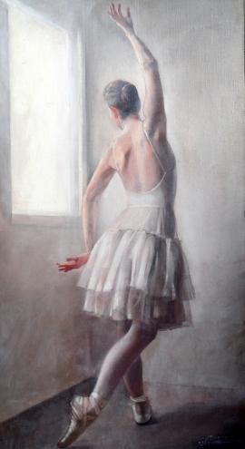 Natasa Kodela, Ballet Dancer, Oil on Canvas, 55x30cm, £480