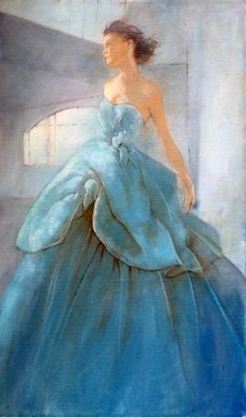 Natasa Kodela, Blue Lady, Oil on Canvas, 60x30cm, £580