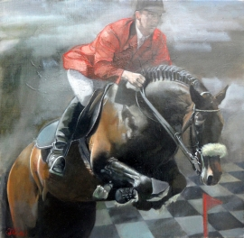 Natasa Kodela, Jockey, Oil on Canvas, 45x45cm