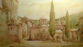 Predrag Pedja Milosevic, Hilandar Monastery, Watercolour, 30x50cm