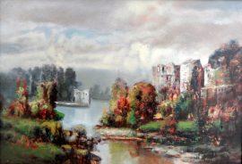 Rade Stanojevic, Castle, Oil on canvas, 45x65cm