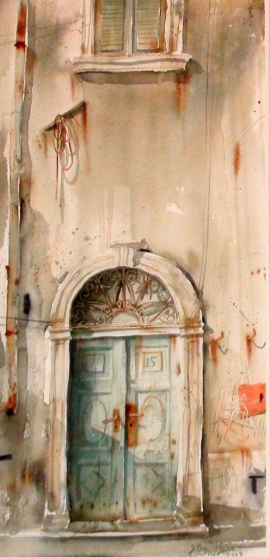 Silva Vujovic, Door, Watercolour, 40x20cm