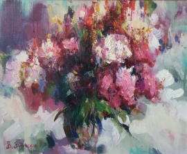 Viktor Vronski, Flowers, Oil on canvas, 55x45cm, £740