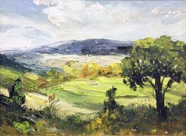 Zoran Zivotic, Green Hills, Oil on canvas, 15x20, £190