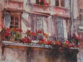 Zoran Zivotic, Balconies, Watercolour, 15x20cm