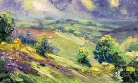 Zoran Zivotic, Colourful Fields, Oil on Board, 15x25cm, £190