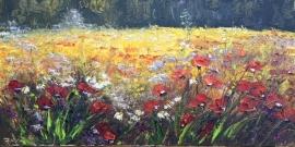 Zoran Zivotic, Flowers, Oil on canvas, 20x40cm