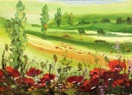 Zoran Zivotic, Green Fields, Oil on Canvas, 25x35cm, £270