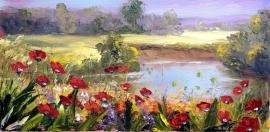 Zoran Zivotic, Lake, Oil on canvas, 20x40cm