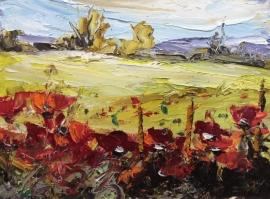Zoran Zivotic, Poppie Fields, Oil on Board, 15x20cm, £190