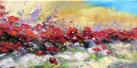 Zoran Zivotic, Poppies, Oil on Canvas, 20x40cm, £270