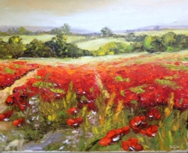 Zoran Zivotic, Red Fields, Oil on canvas, 25x35cm, £270