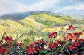 Zoran Zivotic, Red Poppies, Oil on Canvas, 20x30cm, £240