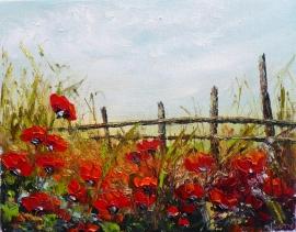 Zoran Zivotic, Red Poppy Fields, Oil on canvas 22x28cm