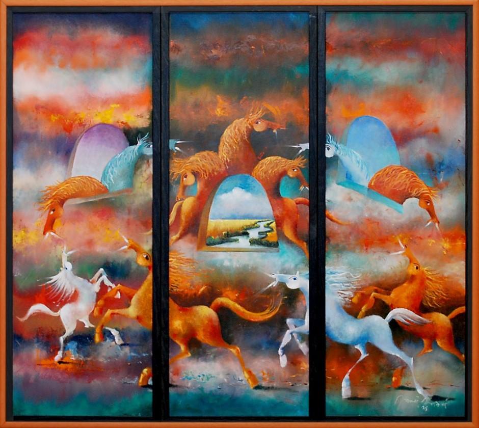 Janos Mesaros, Triptych, Oil on canvas, 102x112cm